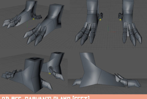 Quick & dirty 3D model ref of Garvan's feet claws done in C4D.